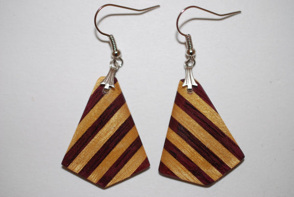 Wooden Small Arrowhead Earrings