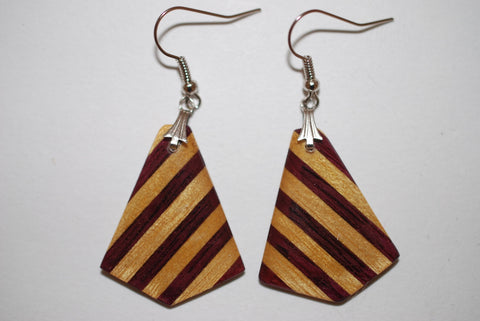 Wooden Medium Arrowhead Earrings