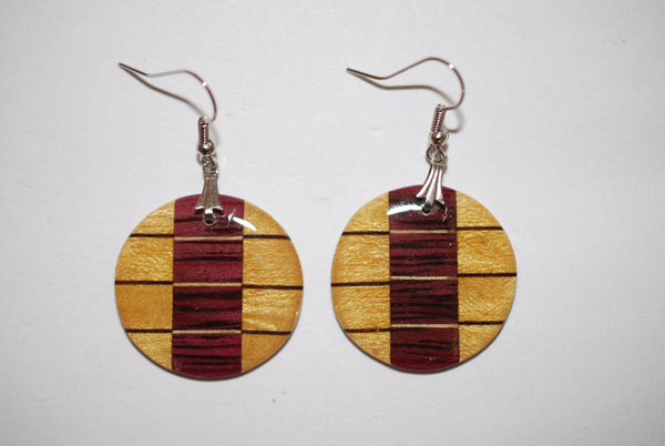 Wooden Intricate Circle Earrings