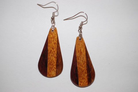 Wooden Large Tri Drop Earrings