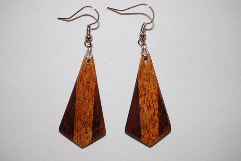 Wooden Tri Arrowhead Earrings