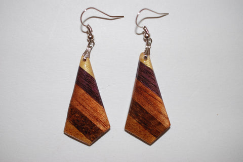 Wooden Intricate Arrowhead Earrings
