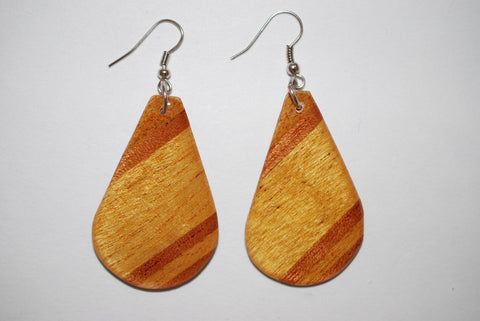 Wooden Medium Drop Light Earrings