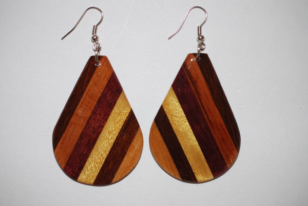 Wooden Large Drop Earrings