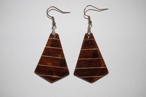 Wooden Medium Dark Arrowhead Earrings