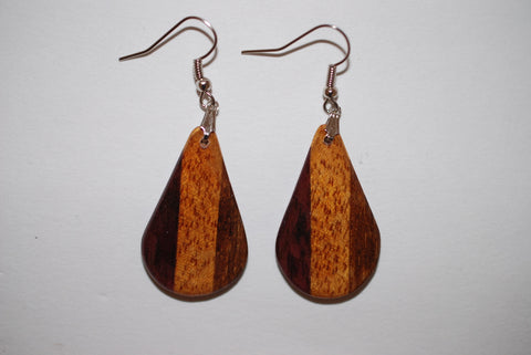 Wooden Small Tri Drop Earrings