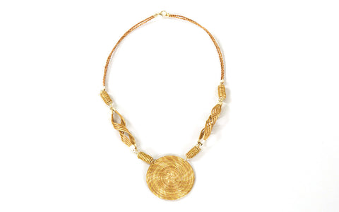 Swirling Coils | Golden Grass Necklace