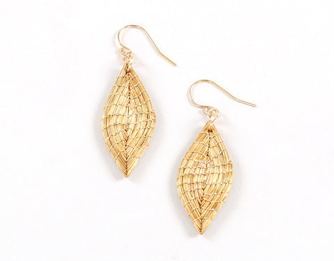 Folha | Golden Grass Pendant Earrings