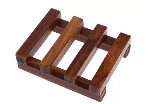 Small Dark Wood Soap Dish Tray