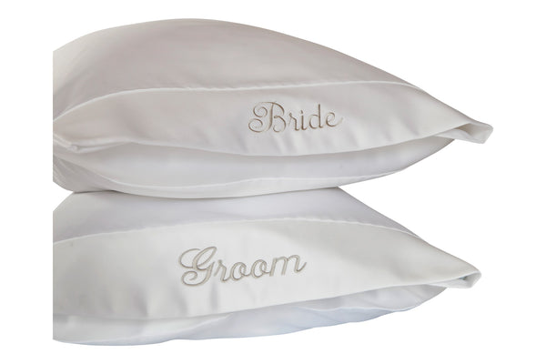 bride and groom pillows embroidered