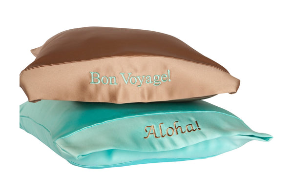 personalized satin travel pillow
