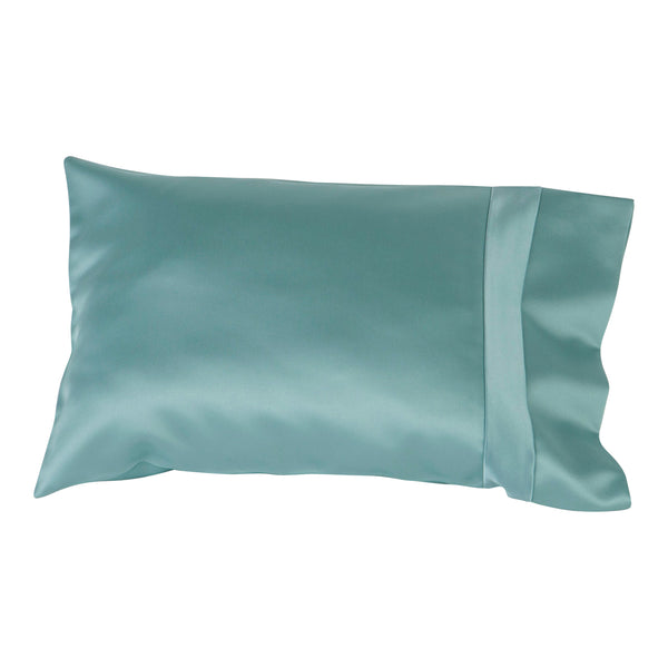 satin travel size pillow slip blue