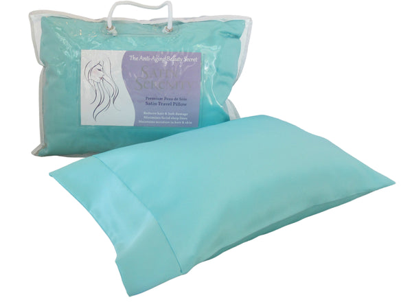 Satin Serenity Travel Pillow in Aqua, Satin Travel Pillow Aqua
