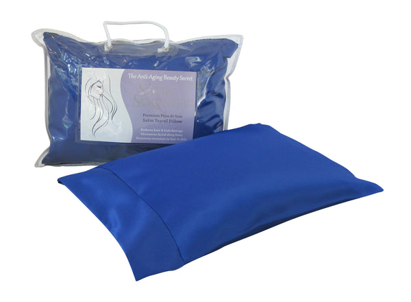 Satin Serenity Travel Pillow in Blue, Satin Travel Pillow Blue