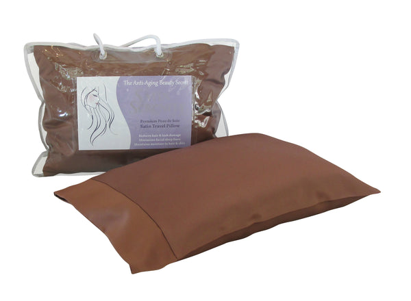 Satin Serenity Travel Pillow in Bronze, Satin Travel Pillow Bronze