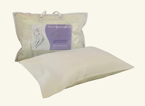 Satin Serenity Travel Pillow in Cream, Satin Travel Pillow Cream