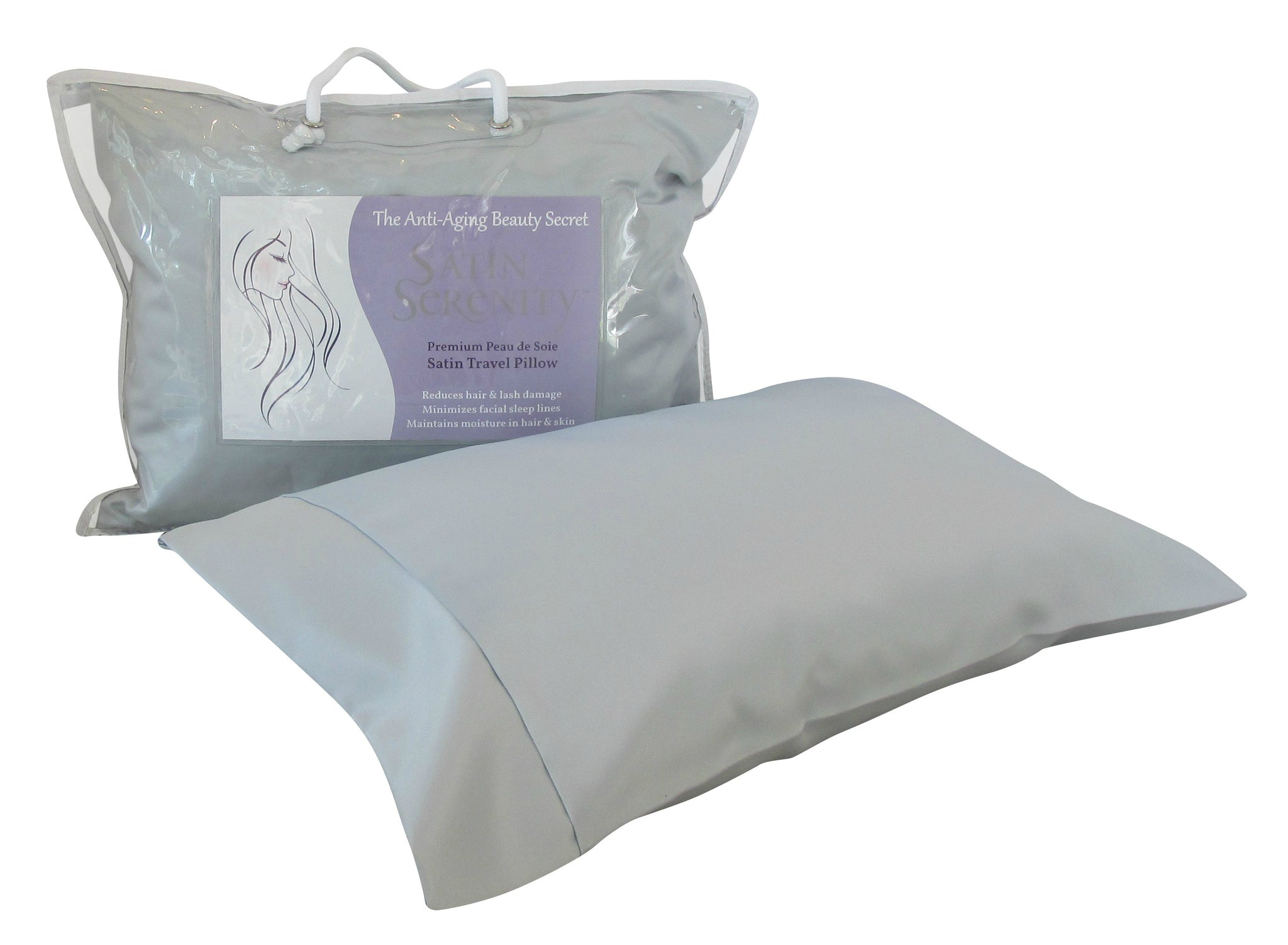 Satin Serenity Travel Pillow in Silver, Silver Satin Travel Pillow