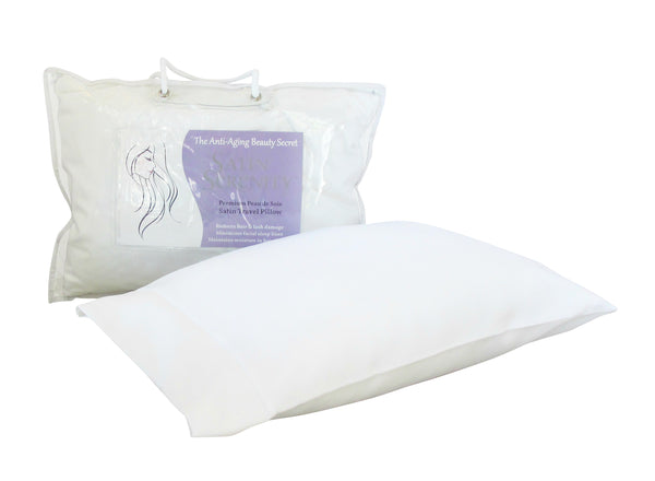 Satin Serenity Travel Pillow in White, Satin Travel Pillow White