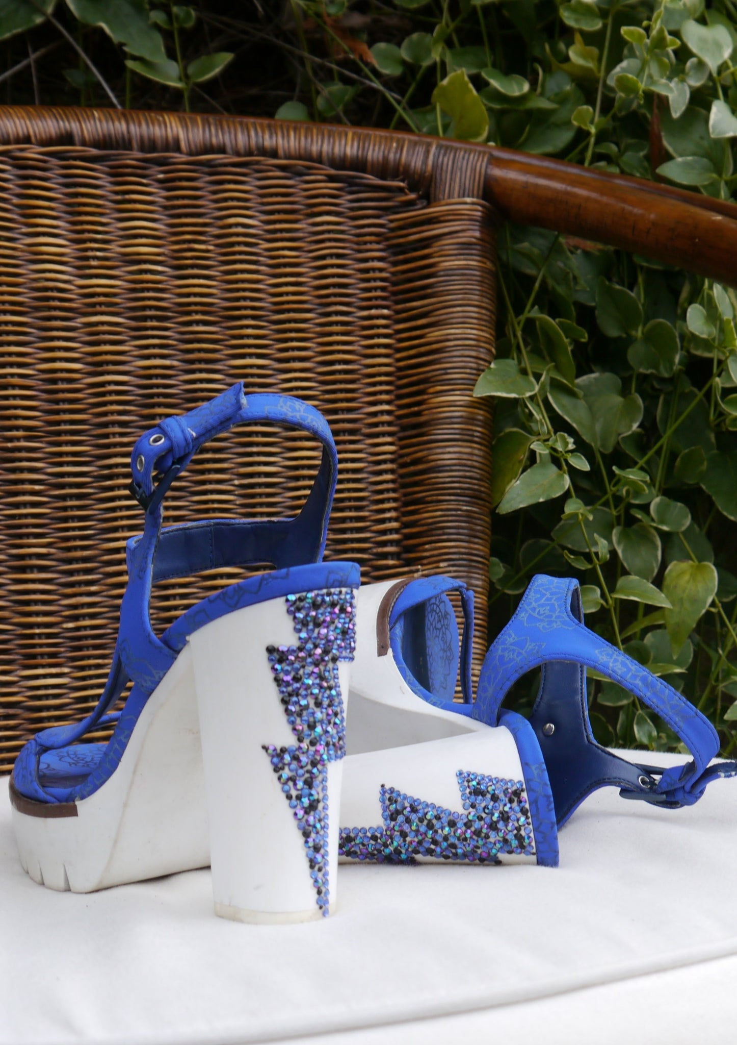 Electric Bolt Blue Heeled Sandals