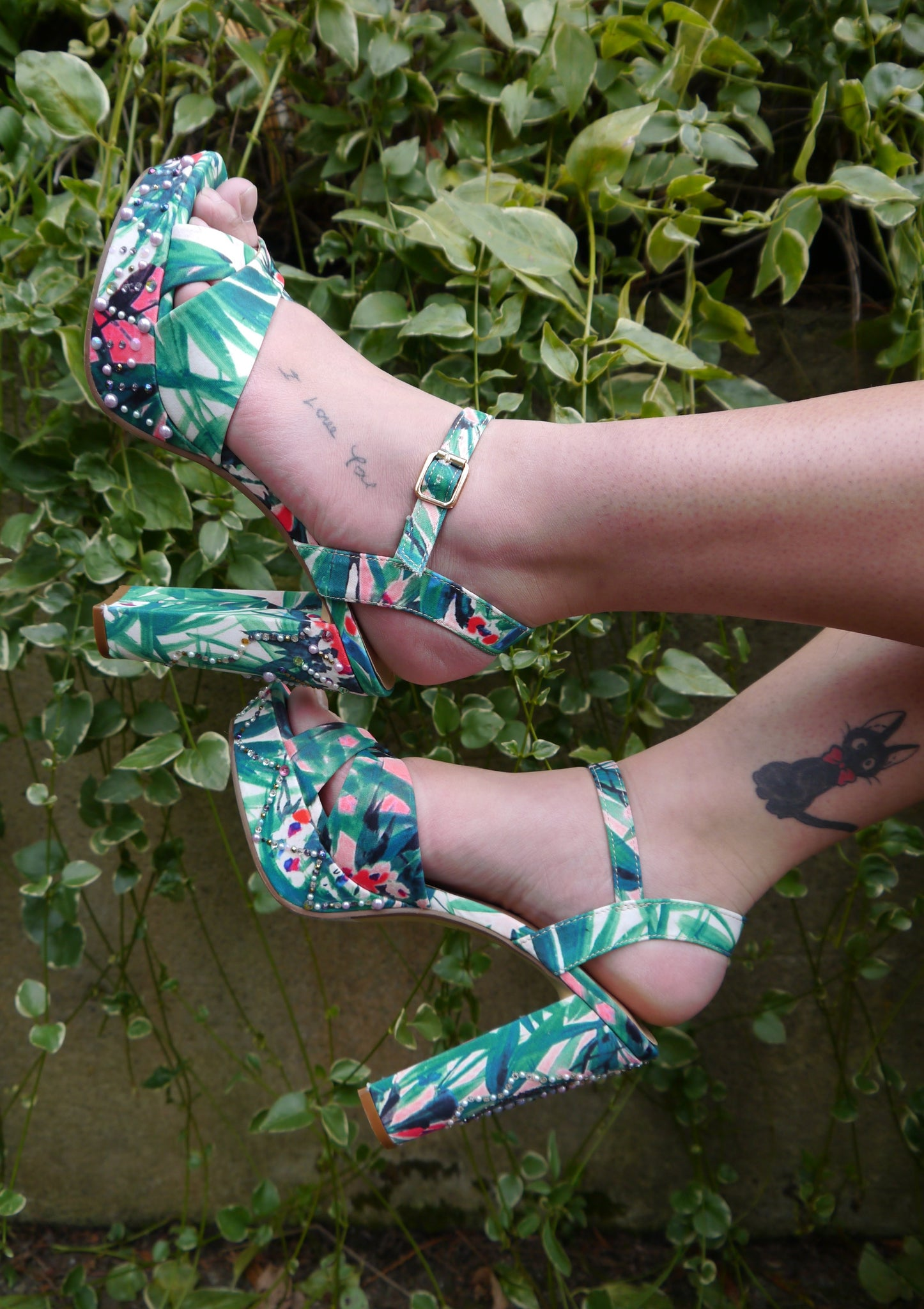 Floral Goddess High Strappy Sandal