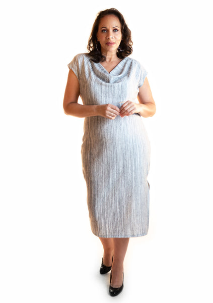 Midi Gray 2-Way Reversible Dress
