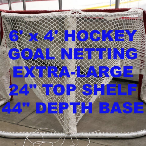 "6' x 4' Replacement Ice Hockey Net, Resin Coated, trimmed, fits 40"" deep , 20"" top shelf"