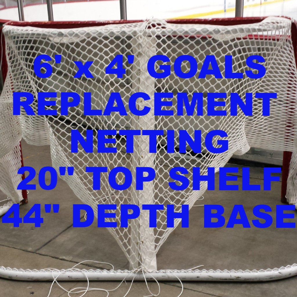 "6' x 4' Replacement Ice Hockey Net, Trimmed, fits 44"" deep- 20"" Top Shelf"