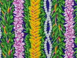 Hawaiian Fabric - FLOWER LEI DESIGN 1 Purple