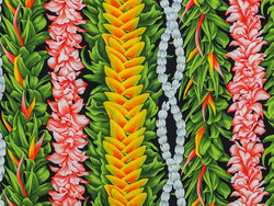 Hawaiian Fabric - FLOWER LEI DESIGN 2 black
