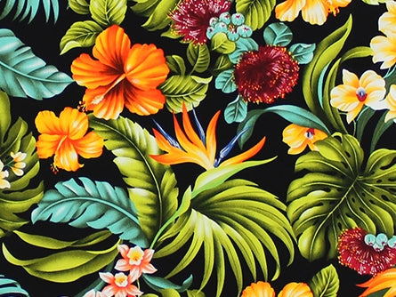Hawaiian Fabric - BARKCLOTH TROPICAL FLORAL 1
