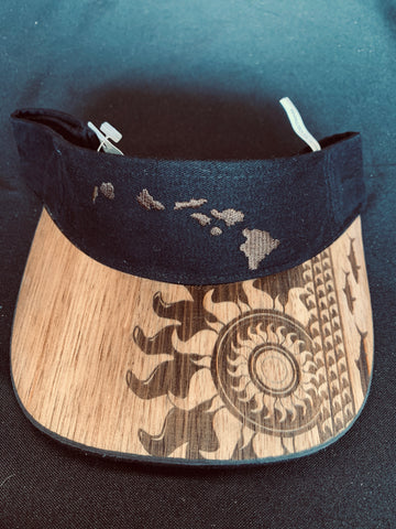 Koa Wood Black Island Chain Visor w/ Sunburst Rim