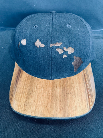Koa Wood Black Island Chain Hat w/ Wave Tatoo Rim