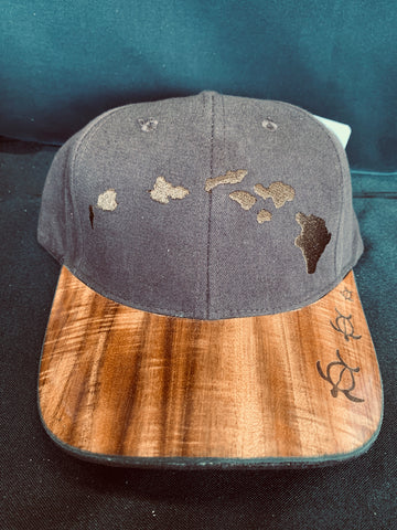 Koa Wood Brown Island Chain Hat w/ 3 honu Rim