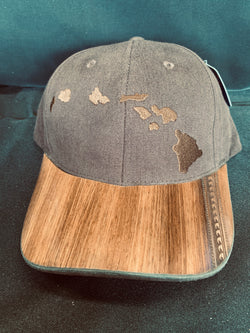 Koa Wood Brown Island Chain Hat w/ Wave tattoo Rim