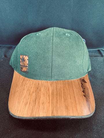 Koa Wood Green Hat w/ Coconut Tree Wood Stamp & Island Chain Rim