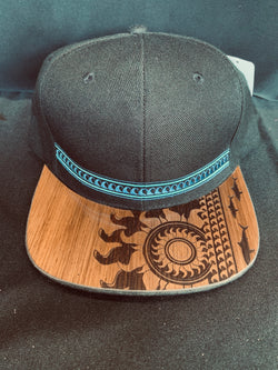 Koa Wood Black Tribal Blue Waves w/ Sunburst Flat Rim