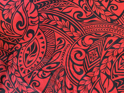 Hawaiian Fabric -100% cotton  TRIBAL 1 - RED