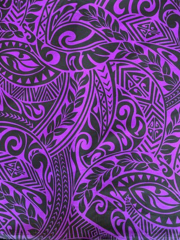 Hawaiian Fabric -100% cotton  TRIBAL 1 - PURPLE