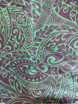 Hawaiian Fabric -100% cotton  TRIBAL 1 - GREEN