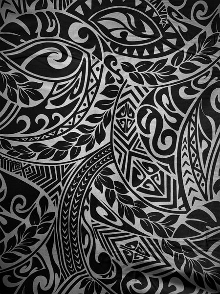 Hawaiian Fabric -100% cotton  TRIBAL 1 - GREY