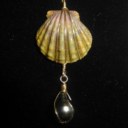 Kauaian sunrise shell necklace with a Tahitian Pearl