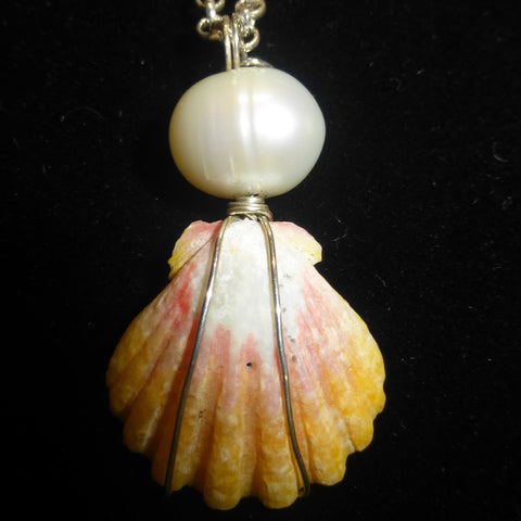 Sunrise Shell Necklace w/ fresh water pearl on Sterling Silver