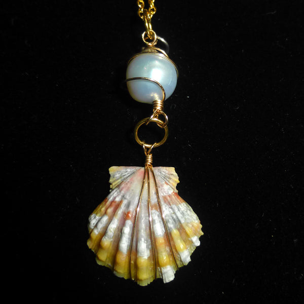 Sold - Sunrise Shell Necklace w/ fresh water pearl on 18k gold necklace