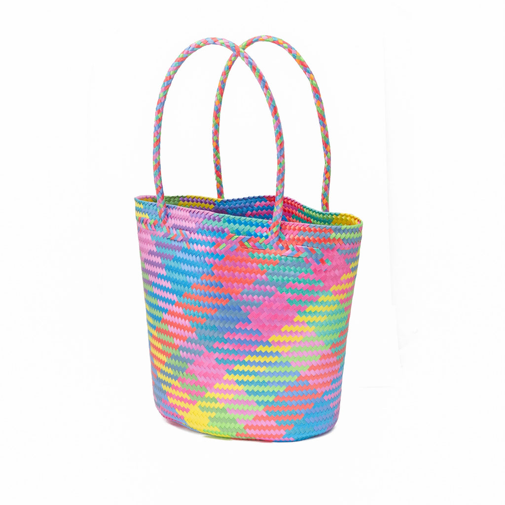 Large Multicolored Recycled Plastic Tote