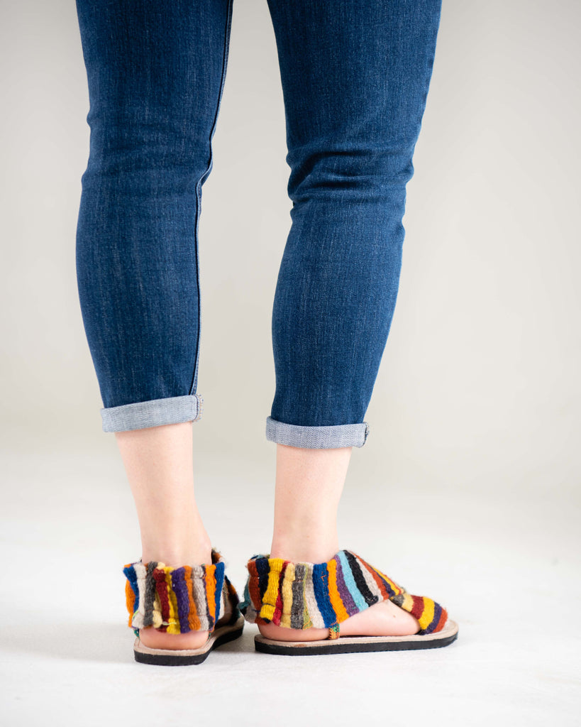 Gladiator-Rainbow Tapestry Sandals