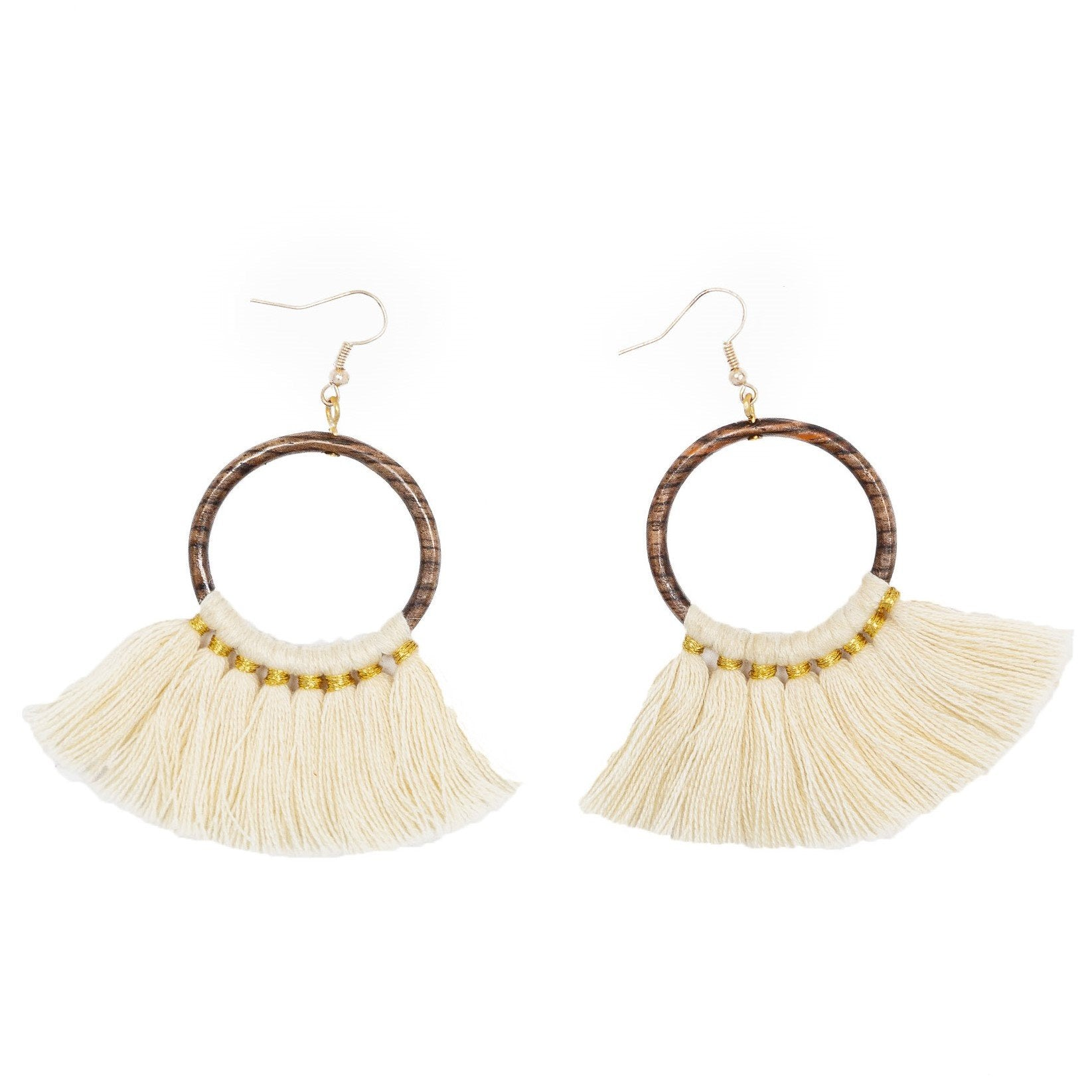 Fair Trade Fringe Wood Hoop Earrings