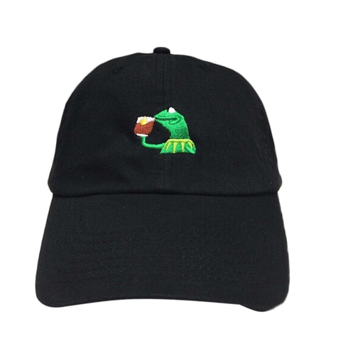 Kermit Sips Tea Dad Hat Adjustable