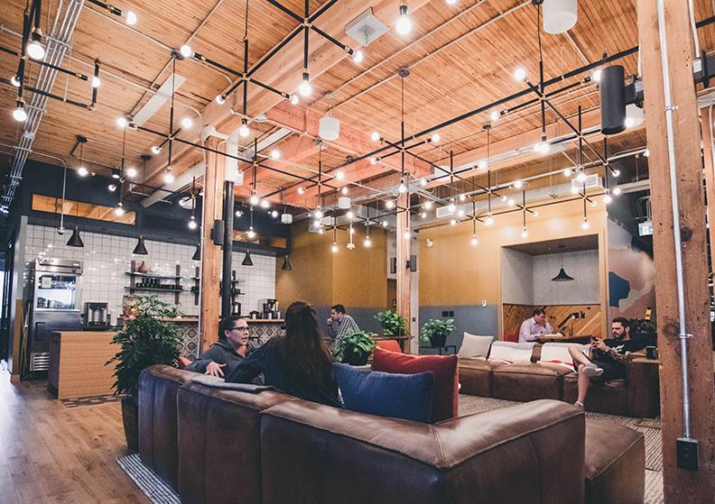 People sitting on couch in a coworking space