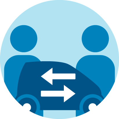 Icon about peer-to-peer car sharing