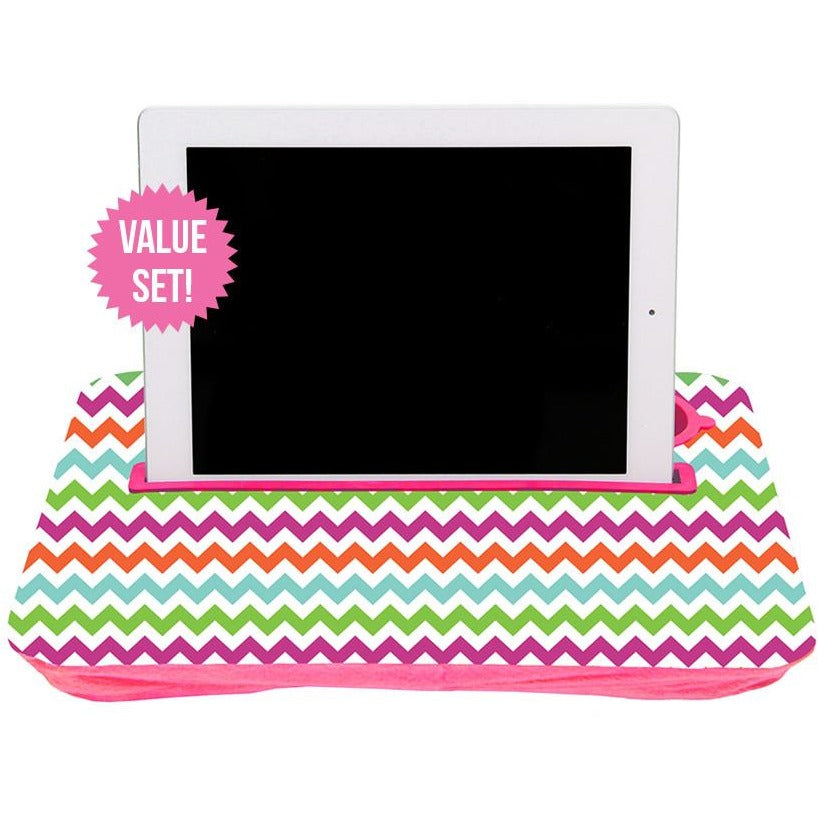 Colorful Chevron and Teal Tablet Tray Set|Tech - Fashionit_inc